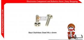 Baut Stainlees Steel M2x6mm