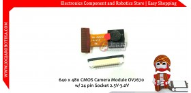 640 X 480 CMOS Camera Module OV7670 24 Pin Socket 2.5V-3.0V 0.3 Mega Pixel Lens