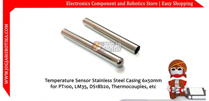 Temperature Sensor Stainless Steel Casing 6x50mm for PT100,LM35, DS18B20, Thermocouple