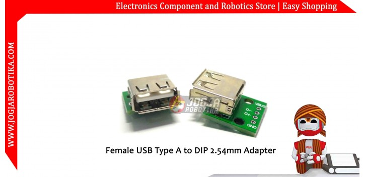 Female USB Type A to DIP 2.54mm Adapter