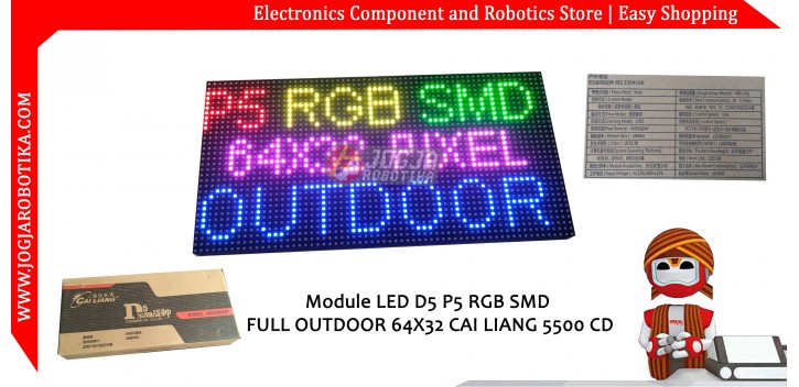 Module LED D5 P5 RGB SMD FULL OUTDOOR 64x32 CAI LIANG 5500 CD