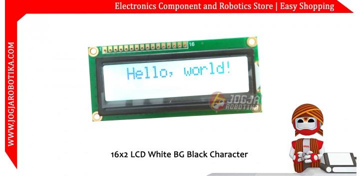 16x2 LCD White BG Black Character