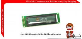 20x2 LCD Character White BG Black Character
