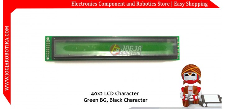 40x2 LCD Character Green BG Black Character