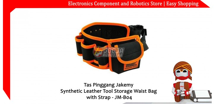Tas Pinggang Jakemy Synthetic Leather Tool Storage Waist Bag with Strap - JM-B04
