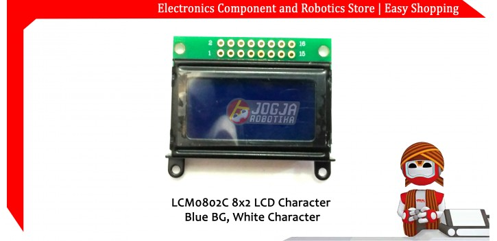 LCM0802C 8x2 LCD Character Blue BG White Character
