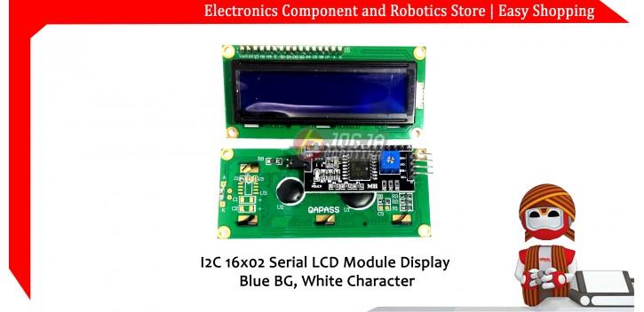 I2C 16x02 Serial LCD Module Display Blue BG White Character