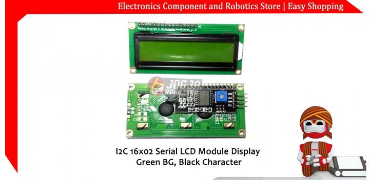 I2C 16x02 Serial LCD Module Display Green BG Black Character