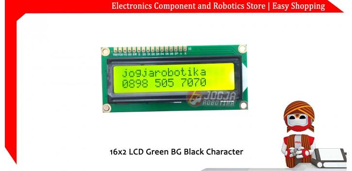 16x2 LCD Green BG Black Character