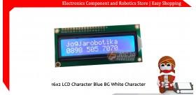 16x2 LCD Character Blue BG White Character