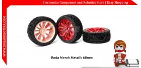 Roda Merah Metalik 68mm