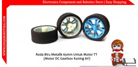 Roda Biru Metalik 65mm Untuk Motor TT (Motor DC Gearbox Kuning 6V)