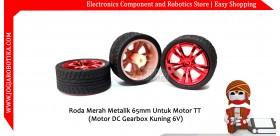Roda Merah Metalik 65mm Untuk Motor TT (Motor DC Gearbox Kuning 6V)