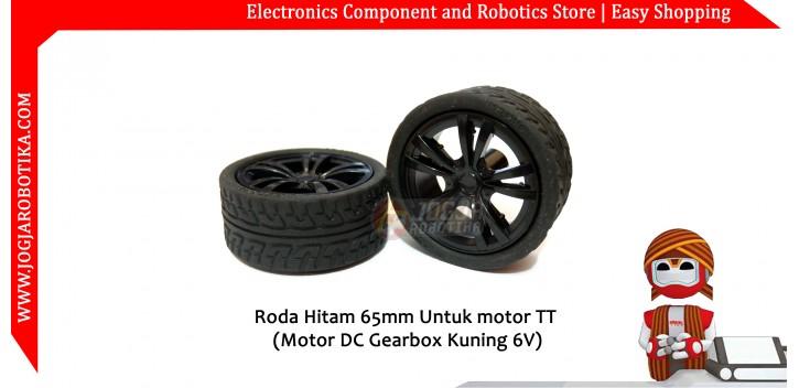 Roda Hitam 65mm Untuk motor TT (Motor DC Gearbox Kuning 6V)