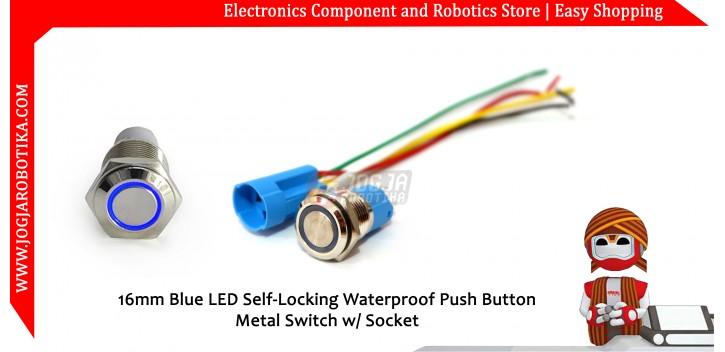 16mm Blue LED Self-Locking Waterproof Push Button Metal Switch w/ Socket