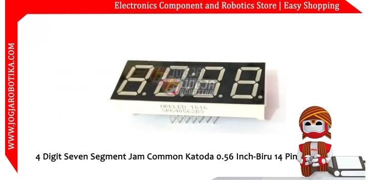 4 Digit Seven Segment Jam Common Katoda 0.56 Inch-Biru 14 Pin