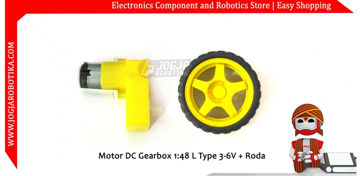 Motor DC Bengkok Gearbox Gearbox 6V + Roda