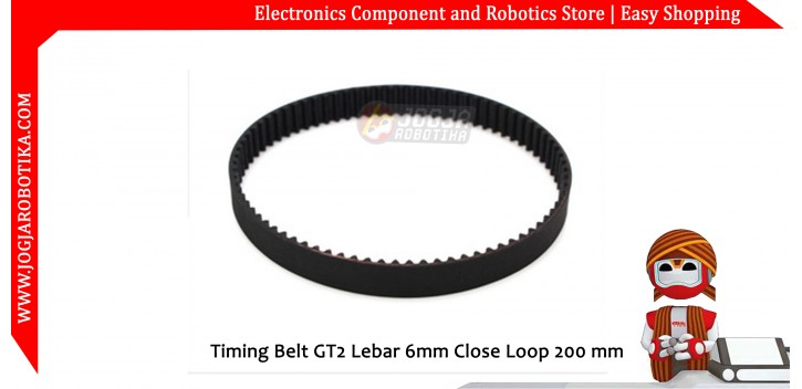 Timing Belt GT2 Lebar 6mm Close Loop 200 mm