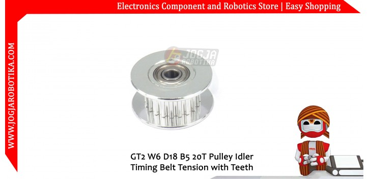 GT2 W6 D18 B5 20T Pulley Idler Timing Belt Tension with Teeth