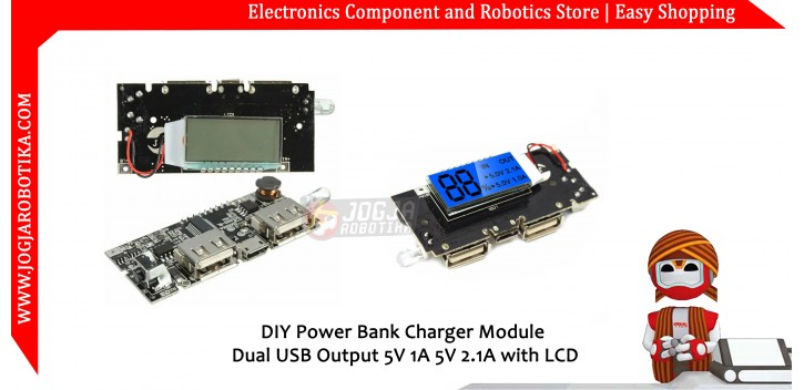DIY Powerbank Power Bank Charger Module Dual USB Output 5V 1A 5V 2 1A with  LCD