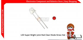 LED Super Bright 5mm Red Clear Diode Straw Hat