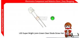 LED Super Bright 5mm Green Clear Diode Straw Hat