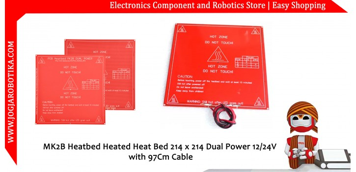 MK2B Heatbed Heated Heat Bed 214 x 214 Dual Power 12/24V with 97Cm Cable