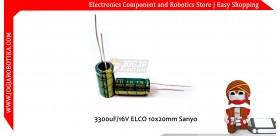 3300uF/16V Elco 10x20mm Sanyo