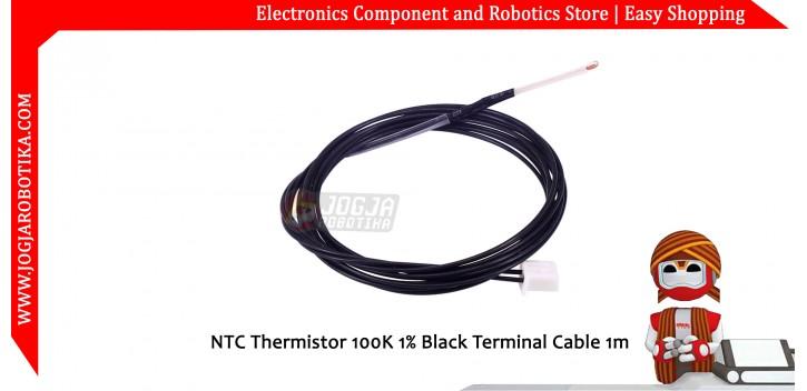 NTC Thermistor 100K 1% Black Terminal Cable 1m