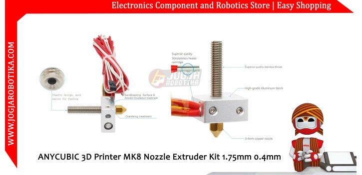 ANYCUBIC 3D Printer MK8 Nozzle Extruder Kit 1.75mm 0.4mm