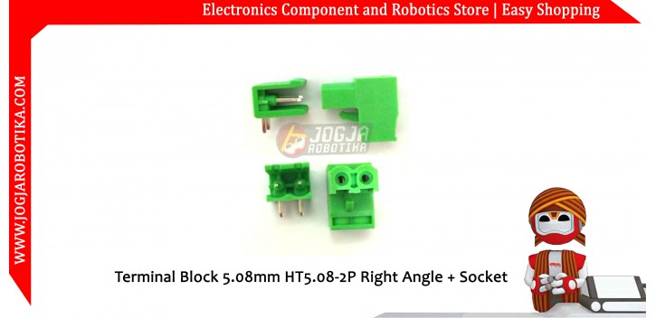 Terminal Block 5.08mm HT5.08-2P Right Angle + Socket