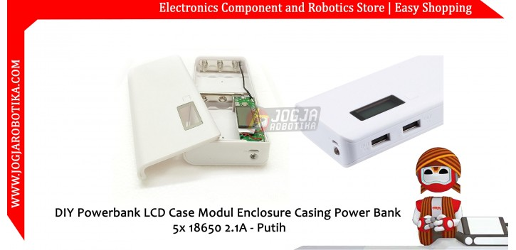 DIY Powerbank LCD Case Modul Enclosure Casing Power Bank 5x 18650 2.1A -Putih