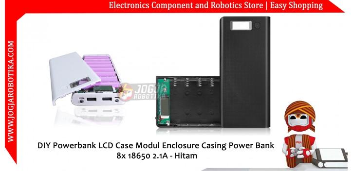 DIY Powerbank LCD Case Modul Enclosure Casing Power Bank 8x 18650 2.1A - Hitam