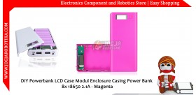 DIY Powerbank LCD Case Modul Enclosure Casing Power Bank 8x 18650 2.1A - Magenta