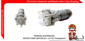 PRIMING DIAPHRAGM WATER PUMP MOTOR 6V - 12V DC-Transparent