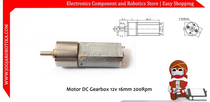 Motor DC Gearbox 12v 16mm 200Rpm