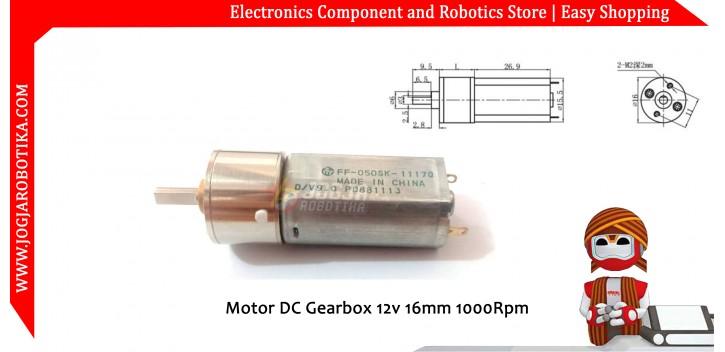 Motor DC Gearbox 12v 16mm 1000Rpm