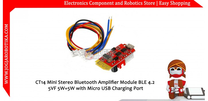 CT14 Mini Stereo Bluetooth Amplifier Module BLE 4.2 5VF 5W+5W with Micro USB Charging Port
