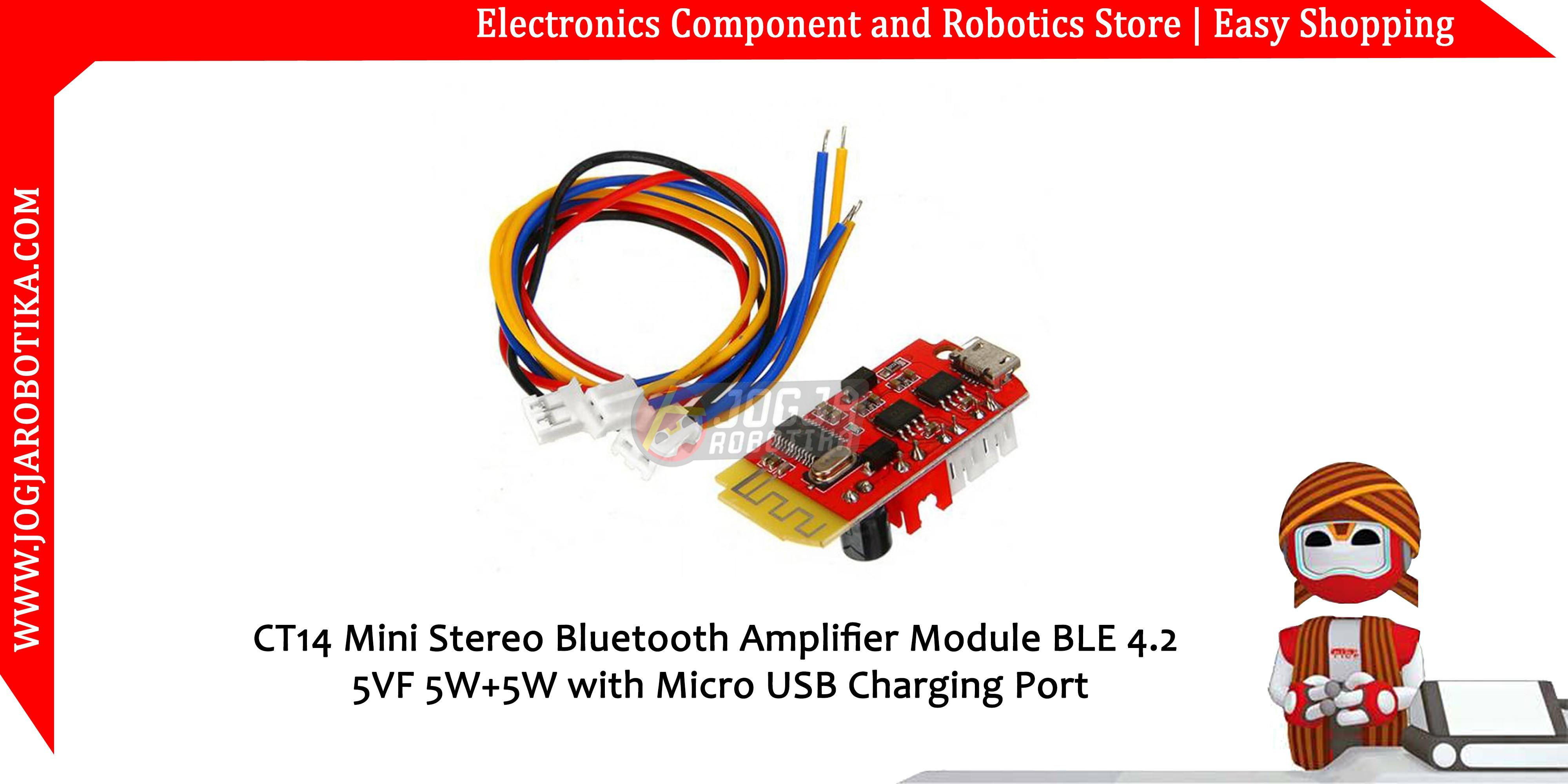 CT14 Mini Stereo Bluetooth 4.2 Power Amplifier Board Module 5VF 5W+5W USB Port