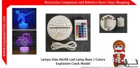 Lampu Hias Akrilik 3D Led Lamp Base 7 Colors Explosion Crack Model