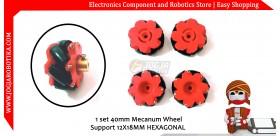 1 set 40mm Mecanum Wheel Merah Support 12X18mm Hexagonal HUB