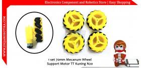 1 set 70mm Mecanum Wheel Support Motor TT Kuning N20