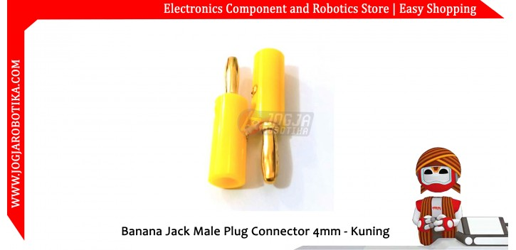 Banana Jack Male Plug Connector 4mm - Kuning