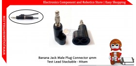 Banana Jack Male Plug Connector 4mm Test Lead Stackable - Hitam