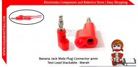 Banana Jack Male Plug Connector 4mm Test Lead Stackable - Merah