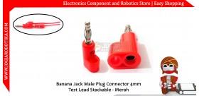 Banana Jack Male Plug Connector 4mm Test Lead Stackable - Merah