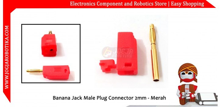 Banana Jack Male Plug Connector 2mm - Merah
