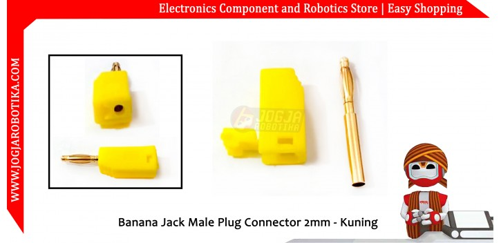 Banana Jack Male Plug Connector 2mm - Kuning