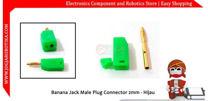 Banana Jack Male Plug Connector 2mm - Hijau