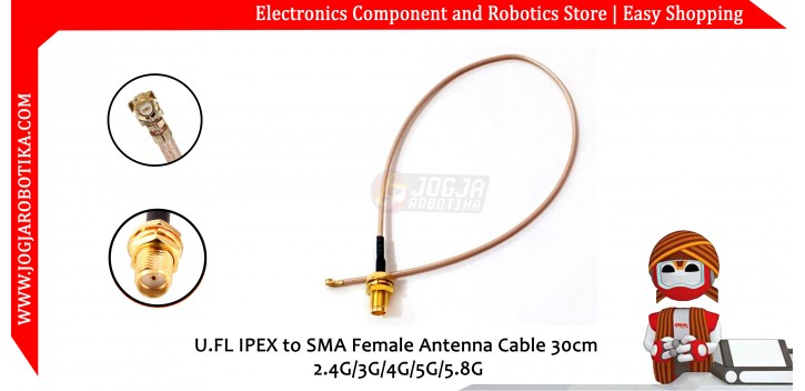 U.FL IPEX Coaxial Shielded to SMA Female Antenna Cable 30cm